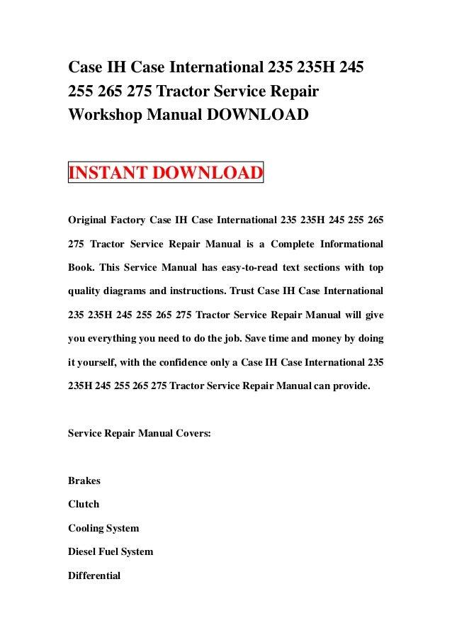 Case ih case international 235 235 h 245 255 265 275 tractor service – Ih 245 Wiring Diagram