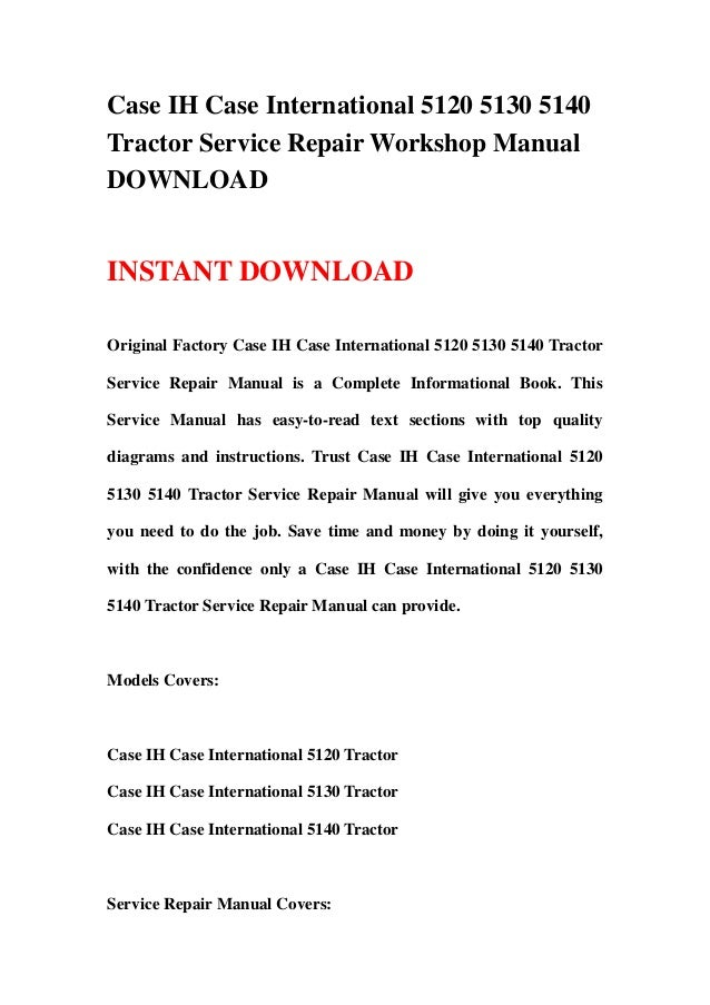 Case-IH 5120 Tractor Service Manual IT Shop