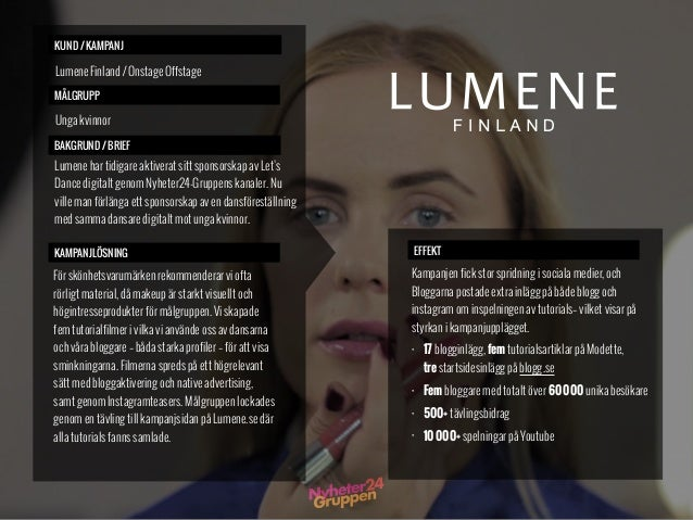 KUND / KAMPANJ MÅLGRUPP BAKGRUND / BRIEF KAMPANJLÖSNING Lumene Finland / Onstage Offstage Unga kvinnor EFFEKT Kampanjen fi...
