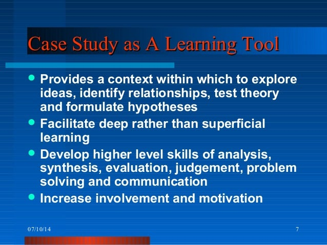 case study approach to learning Introduction the case study teaching method is a highly adaptable style of teaching that involves problem-based learning and promotes the development of analytical skills (.