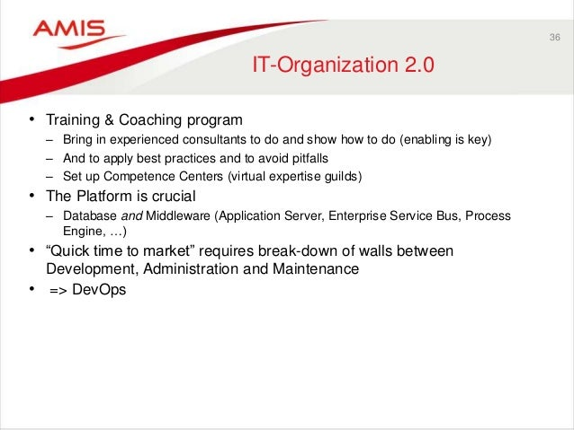 36 IT-Organization 2.0 • Training & Coaching program – Bring in experienced consultants to do and show how to do (enabling...