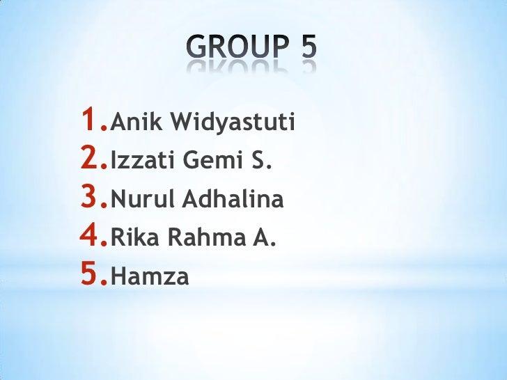 1.Anik Widyastuti2.Izzati Gemi S.3.Nurul Adhalina4.Rika Rahma A.5.Hamza