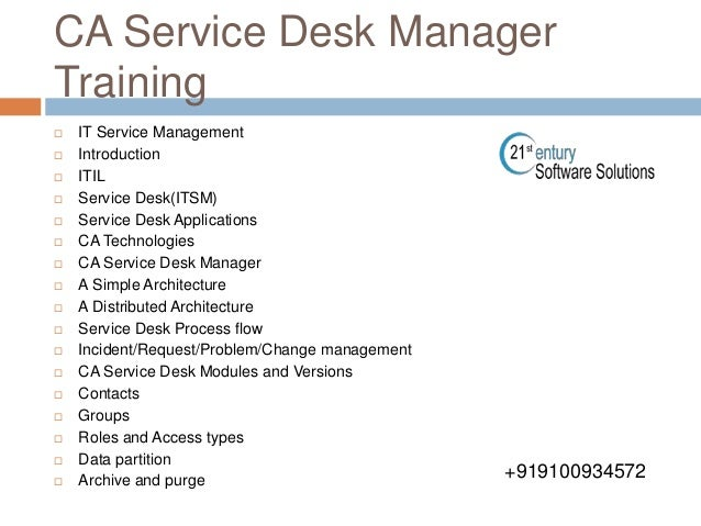 ca service desk manager corporate training  9100934572