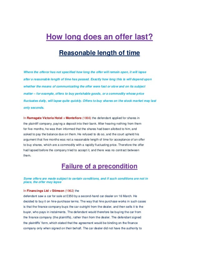 contract law essay offer acceptance Home contract law question: contract law case study / scenario task 1 mrs turner has decided to start her own business running a private day nursery it is necessary for her to find appropriate premises.