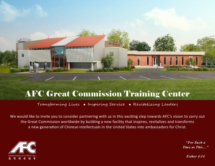 AFC Great Commission Training Center                               Transforming Lives   Inspiring Service   Revitalizing L...