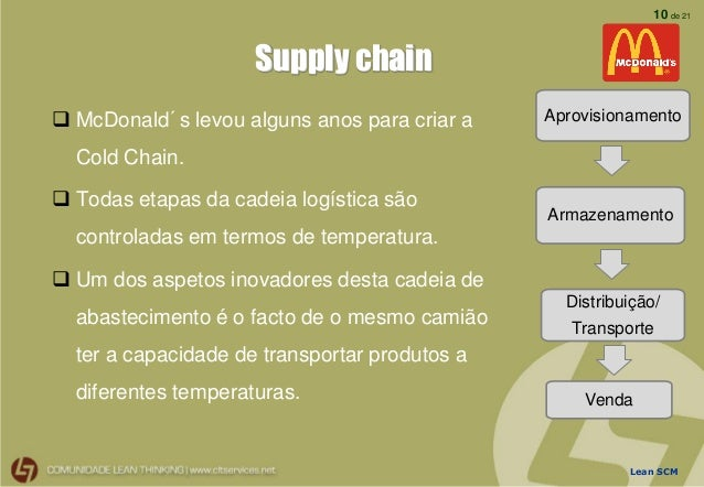 mc donalds lean production Summary: the purpose of this assignment is to analyze critical elements of an effective and efficient stock control system for a continuous flow production line and.