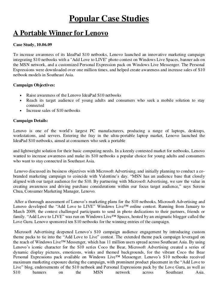 Popular Case StudiesA Portable Winner for LenovoCase Study, 10.06.09To increase awareness of its IdeaPad S10 netbooks, Len...