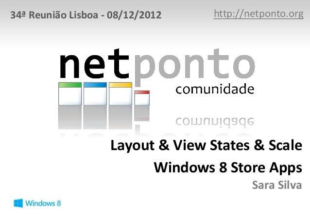 34ª Reunião Lisboa - 08/12/2012    http://netponto.org                    Layout & View States & Scale                    ...