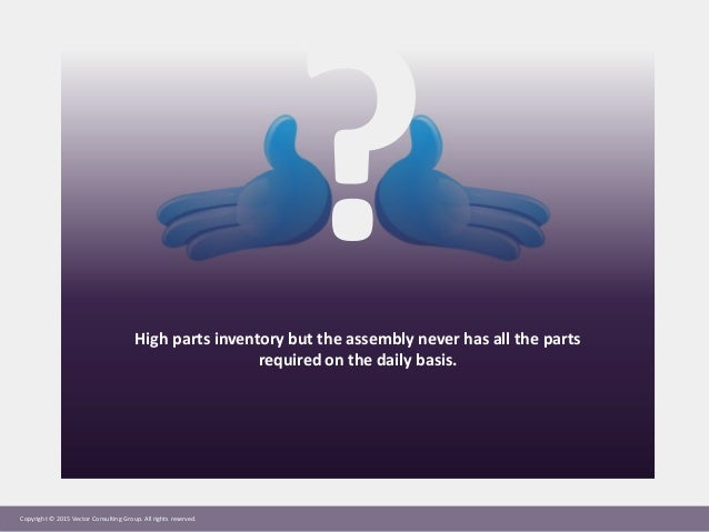 Copyright © 2015 Vector Consulting Group. All rights reserved. High parts inventory but the assembly never has all the par...