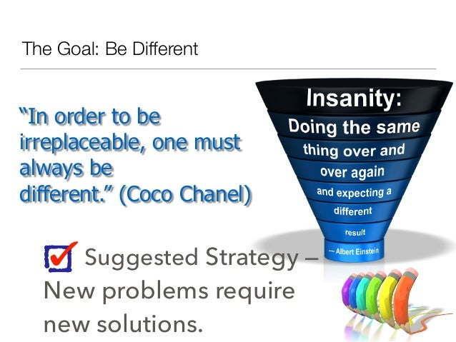 """The Goal: Be Different """"In order to be irreplaceable, one must always be different."""" (Coco Chanel) Suggested Strategy — Ne..."""