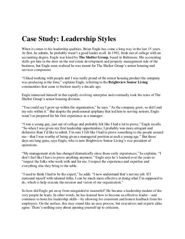 case study on leadership styles  leadership styles 2