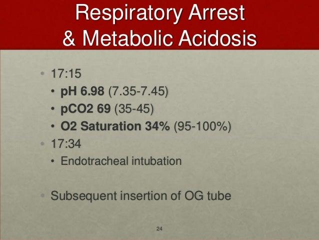 Respiratory Arrest   & Metabolic Acidosis• 17:15  • pH 6.98 (7.35-7.45)  • pCO2 69 (35-45)  • O2 Saturation 34% (95-100%)•...
