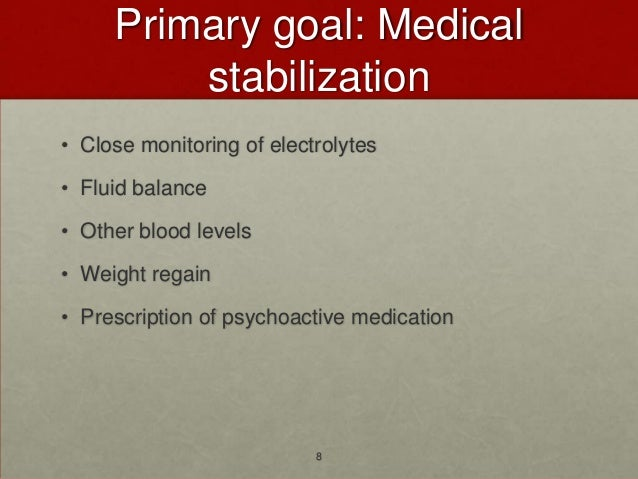 Primary goal: Medical         stabilization• Close monitoring of electrolytes• Fluid balance• Other blood levels• Weight r...