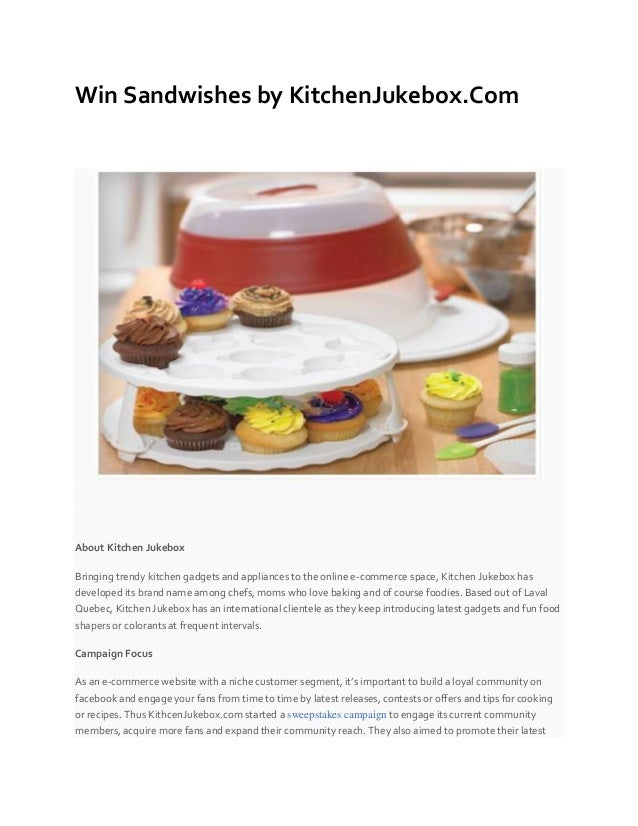 Win Sandwishes by KitchenJukebox.Com About Kitchen Jukebox Bringing trendy kitchen gadgets and appliances to the online e-...