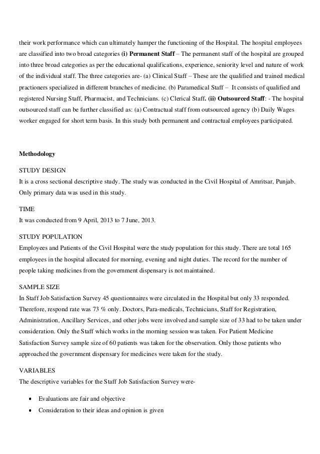 Staff Job Satisfaction and Patient Satisfaction survey in Civil Hospi…