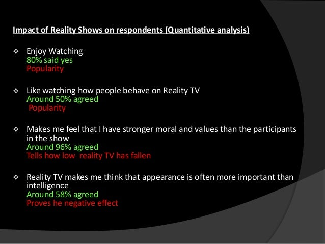 effects of reality tv on society