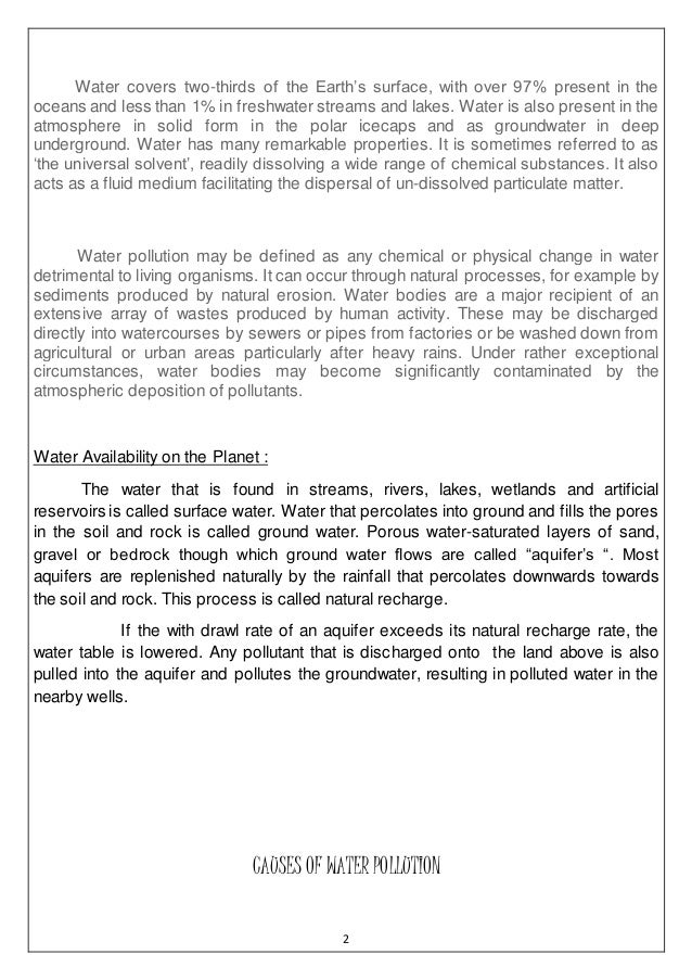 report on water pollution