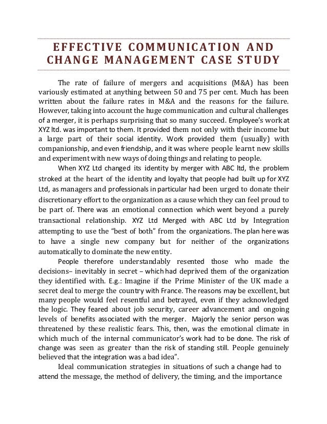 Case study change management failure