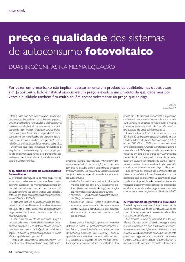 """58 case-study preço e qualidade dos sistemas de autoconsumo fotovoltaico duas incógnitas na mesma equação Esta""""equação""""não..."""