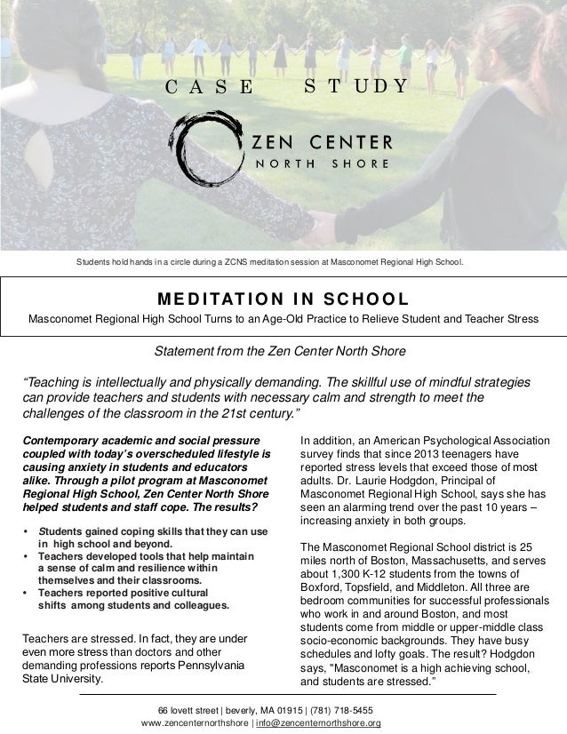 Teachers Report Stressed Anxious >> Case Study Meditation In School