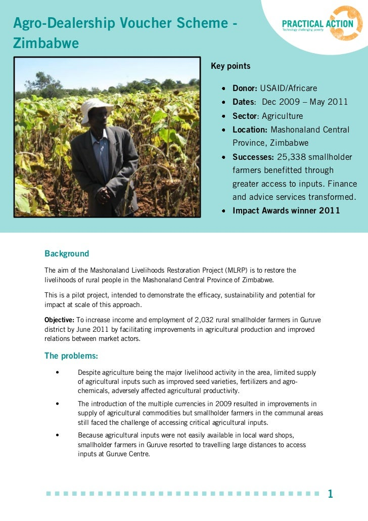 Agro-Dealership Voucher Scheme -Zimbabwe                                                              Key points          ...