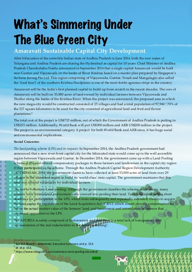 -1- What's Simmering Under The Blue Green City Amaravati Sustainable Capital City Development After bifurcation of the ...