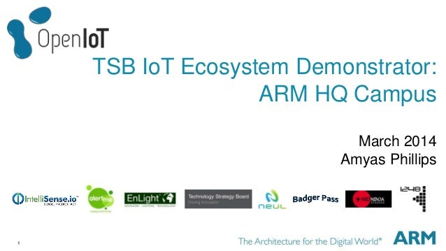 1 TSB IoT Ecosystem Demonstrator: ARM HQ Campus March 2014 Amyas Phillips