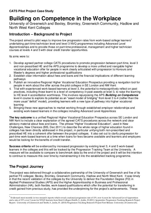 CATS Pilot Project Case Study Building on Competence in the Workplace University of Greenwich and Bexley, Bromley, Greenwi...