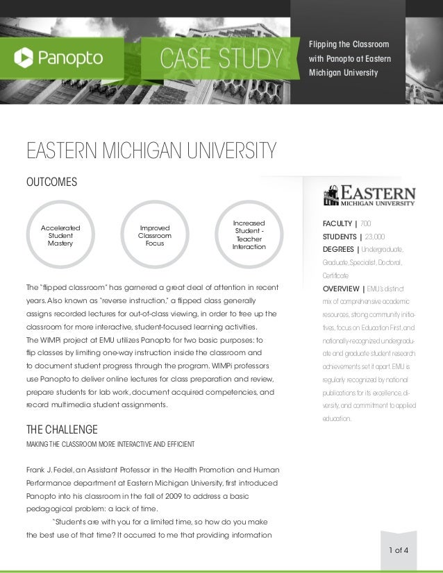 """1 of 4 EASTERN MICHIGAN UNIVERSITY OUTCOMES The """"flipped classroom"""" has garnered a great deal of attention in recent years..."""