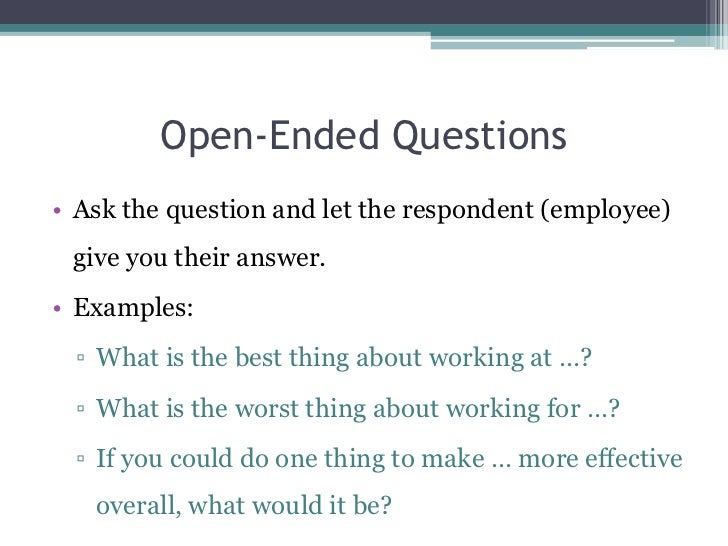 open ended questions for managers