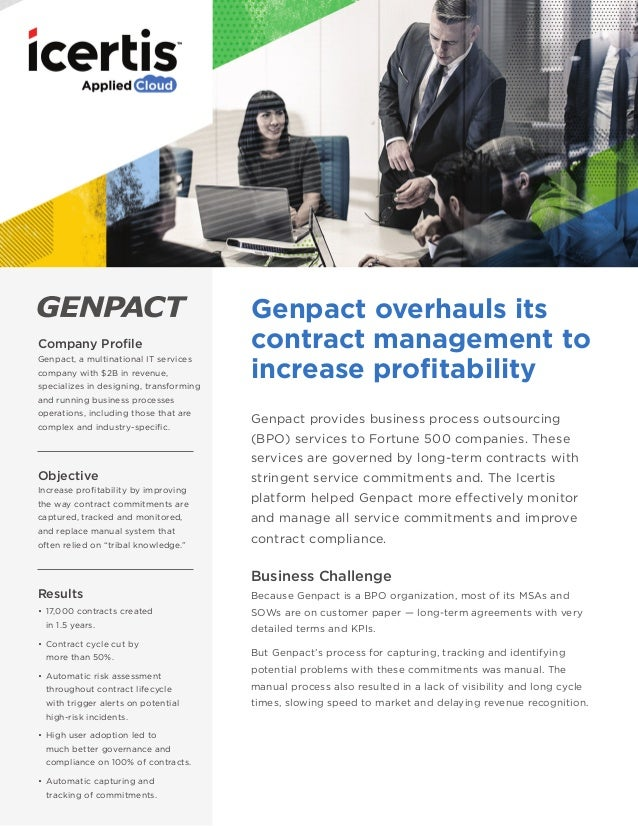 Genpact Implements Icertis Contract Management Software To Automate A