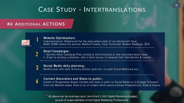 • 2 CASE STUDY - INTERTRANSLATIONS #6 ADDITIONAL ACTIONS 1 Website Optimization : Intertranslations' Website will be the p...