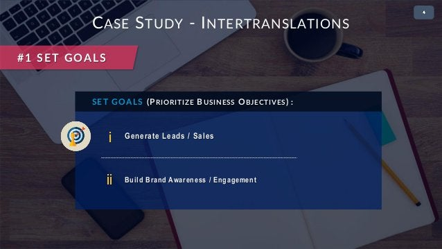 • 2 CASE STUDY - INTERTRANSLATIONS i Generate Leads / Sales SET GOALS (PRIORITIZE BUSINESS OBJECTIVES) : ii Build Brand Aw...