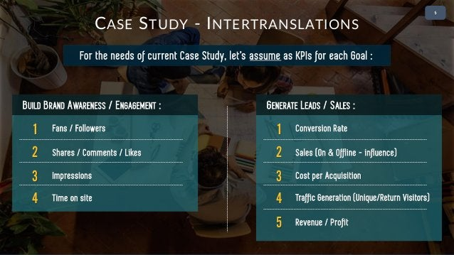 • 2 For the needs of current Case Study, let's assume as KPIs for each Goal : CASE STUDY - INTERTRANSLATIONS 1 Fans / Foll...