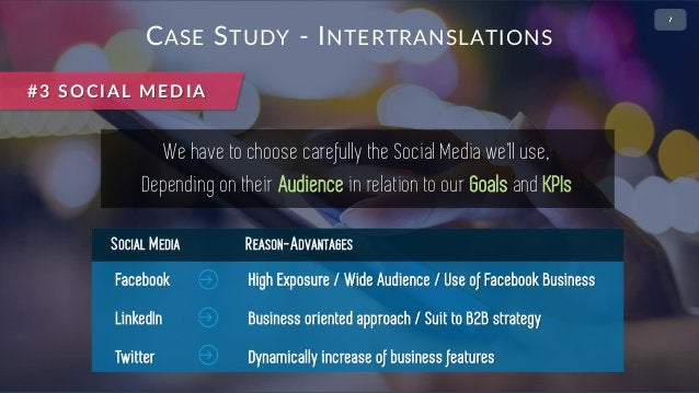 • 2 CASE STUDY - INTERTRANSLATIONS We have to choose carefully the Social Media we'll use, Depending on their Audience in ...