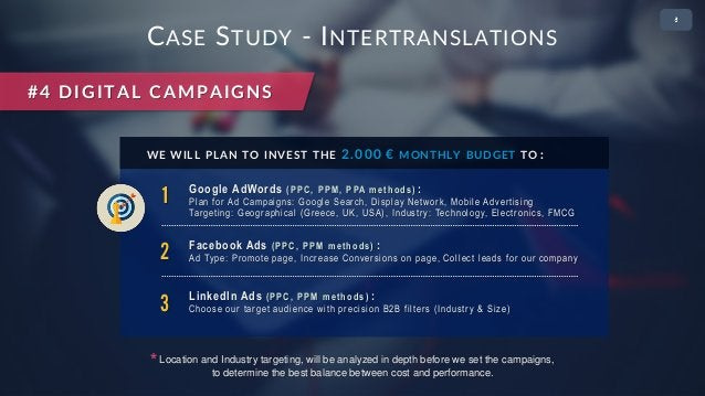 • 2 CASE STUDY - INTERTRANSLATIONS #4 DIGITAL CAMPAIGNS 1 Google AdWords (PPC, PPM, PPA methods) : Plan for Ad Campaigns: ...