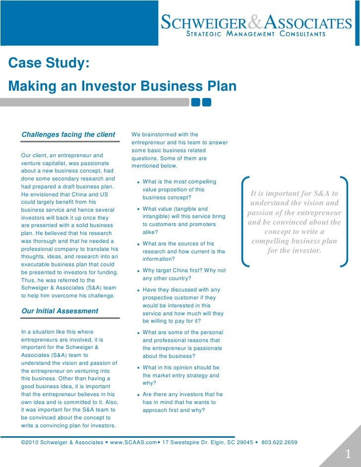 Case Study:Making an Investor Business Plan Challenges facing the client             We brainstormed with the             ...