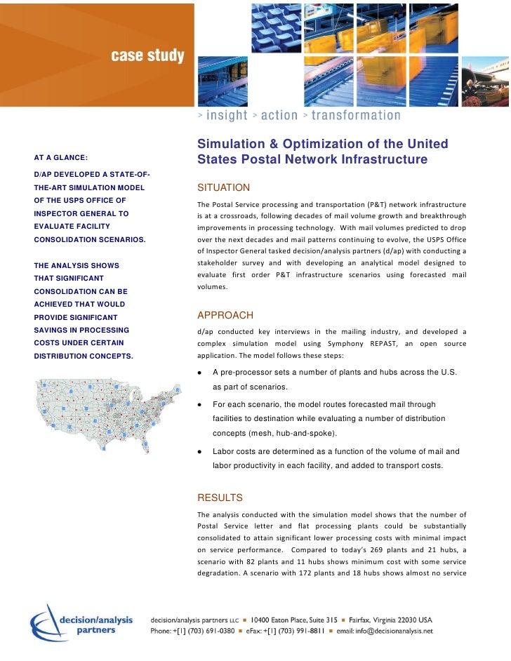 ttrt                               Simulation & Optimization of the UnitedAT A GLANCE:                   States Postal Net...