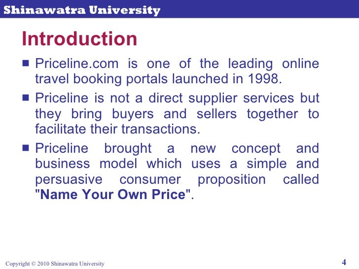can business model of priceline com be Hotels view the bid, and those under-capacity can choose to accept the  under  medibid's business model, the consumer pays a fee to place a.
