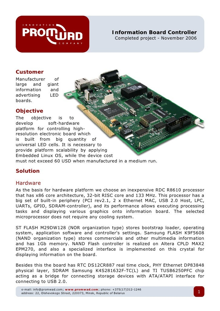 Information Board Controller                                                       Completed project - November 2006     C...