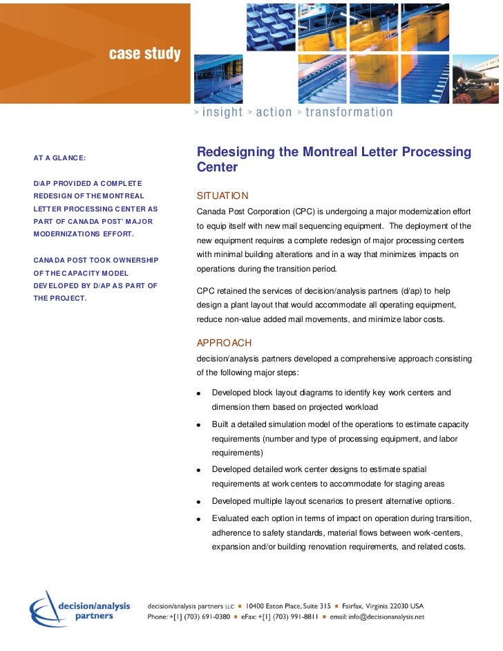 ttrt        Redesigning the Montreal Letter ProcessingAT A GLANCE:                                CenterD/AP PROVIDED A CO...