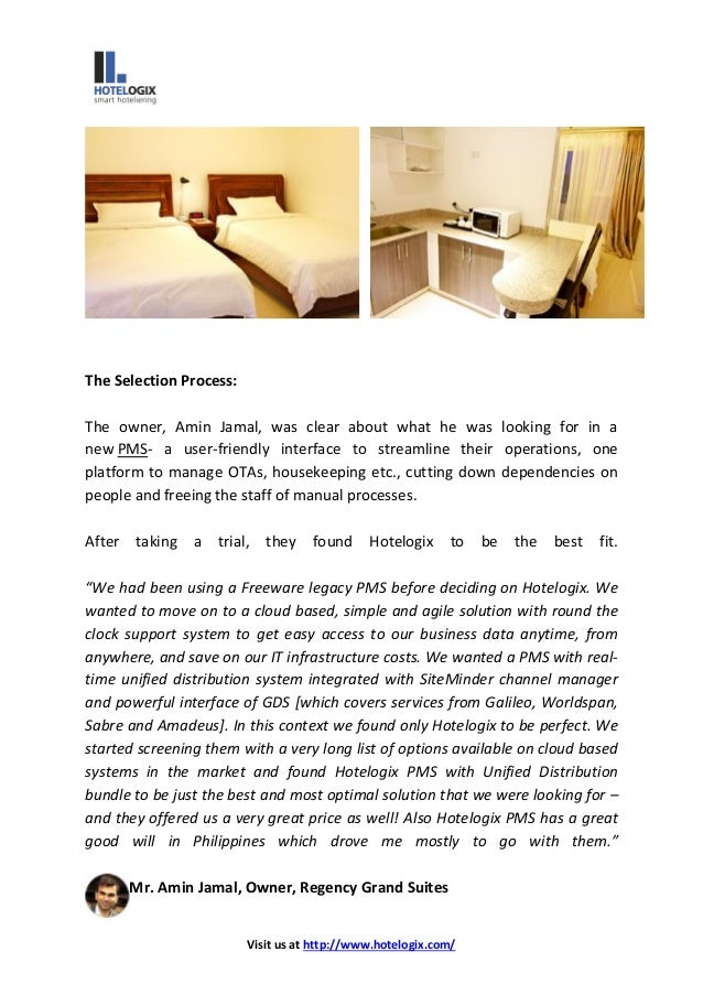 case study of regency grand hotel Visit us at   hotelogix helped eliminate manual processes and streamlined the operations regency grand suites is situated in manila, ph.