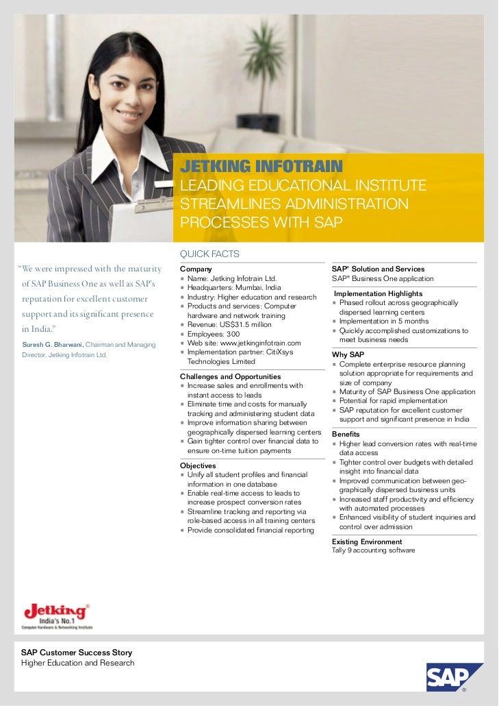 Case Study - SAP Business One - JETKING INFOTRAIN