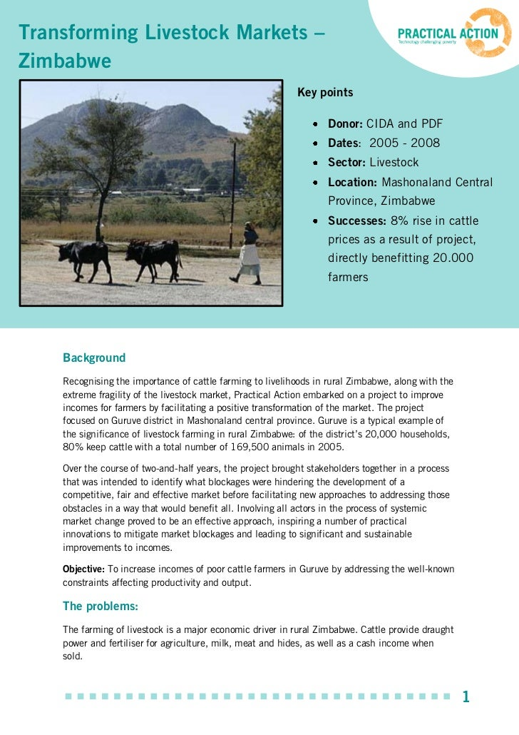 Transforming Livestock Markets –Zimbabwe                                                            Key points            ...
