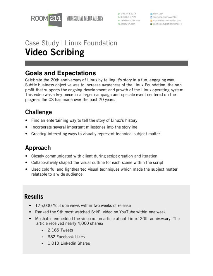Case Study | Linux FoundationVideo ScribingGoals and ExpectationsCelebrate the 20th anniversary of Linux by telling its st...
