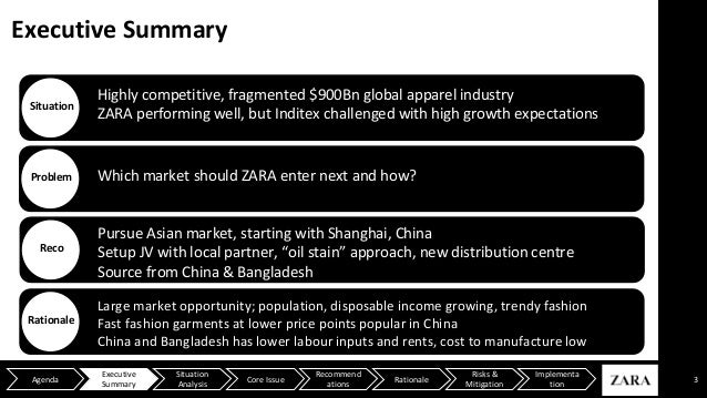 """zara case study executive summary Zara case name: sejun lee executive summary zara is one of the largest international fashion companies belonging to inditex, one of the world""""s largest distribution groups this study analyses zara`s external and internal environments and public perception to make recommendations for improving performance against competitors such as h&m and gap."""