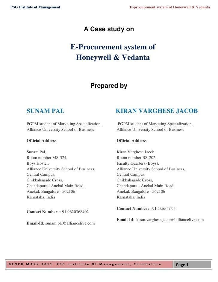PSG Institute of Management                                E-procurement system of Honeywell & Vedanta                    ...