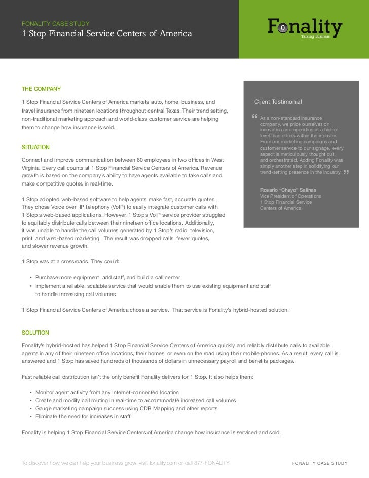 FONALITY CASE STUDY1 Stop Financial Service Centers of AmericaTHE COMPANY1 Stop Financial Service Centers of America marke...