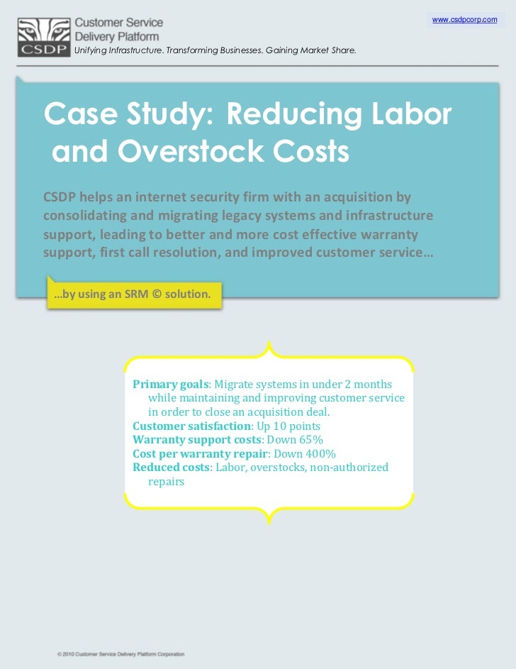 www.csdpcorp.com     Unifying Infrastructure. Transforming Businesses. Gaining Market Share.Case Study: Reducing Laborand ...