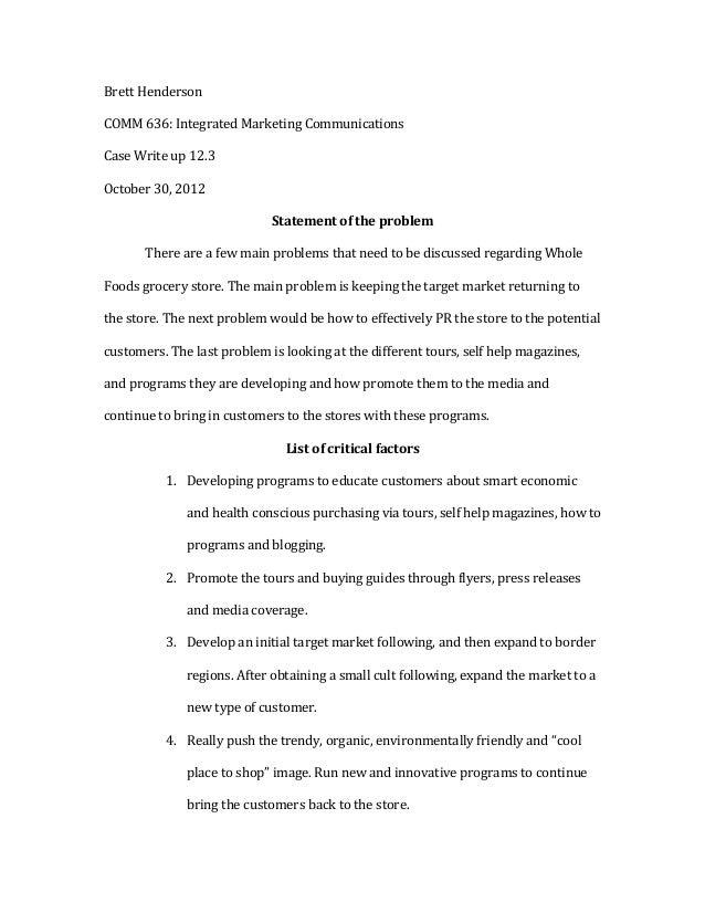 Brett Henderson COMM 636: Integrated Marketing Communications  Case Write up 12.3 October 30, ...